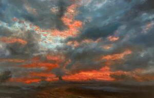 Kleinboonschate, Robert. Hillside Series Fire Sky Oil on Belgian linen 940mm x 1630mm 1217, art