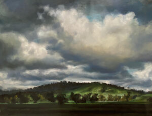 Hillside Series Sun lit green Oil on Belgian linen 1230mm x 1630mm 1208, art