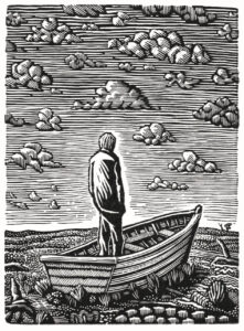 """adrift"" 2016 wood engraving 9.5x7cm"