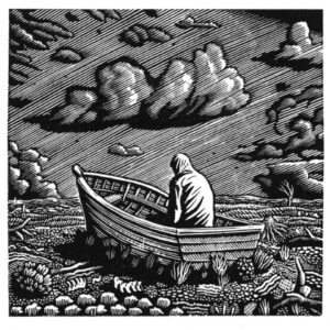 """Passing Storm"" 2016 wood engraving 7.6x7.7cm"